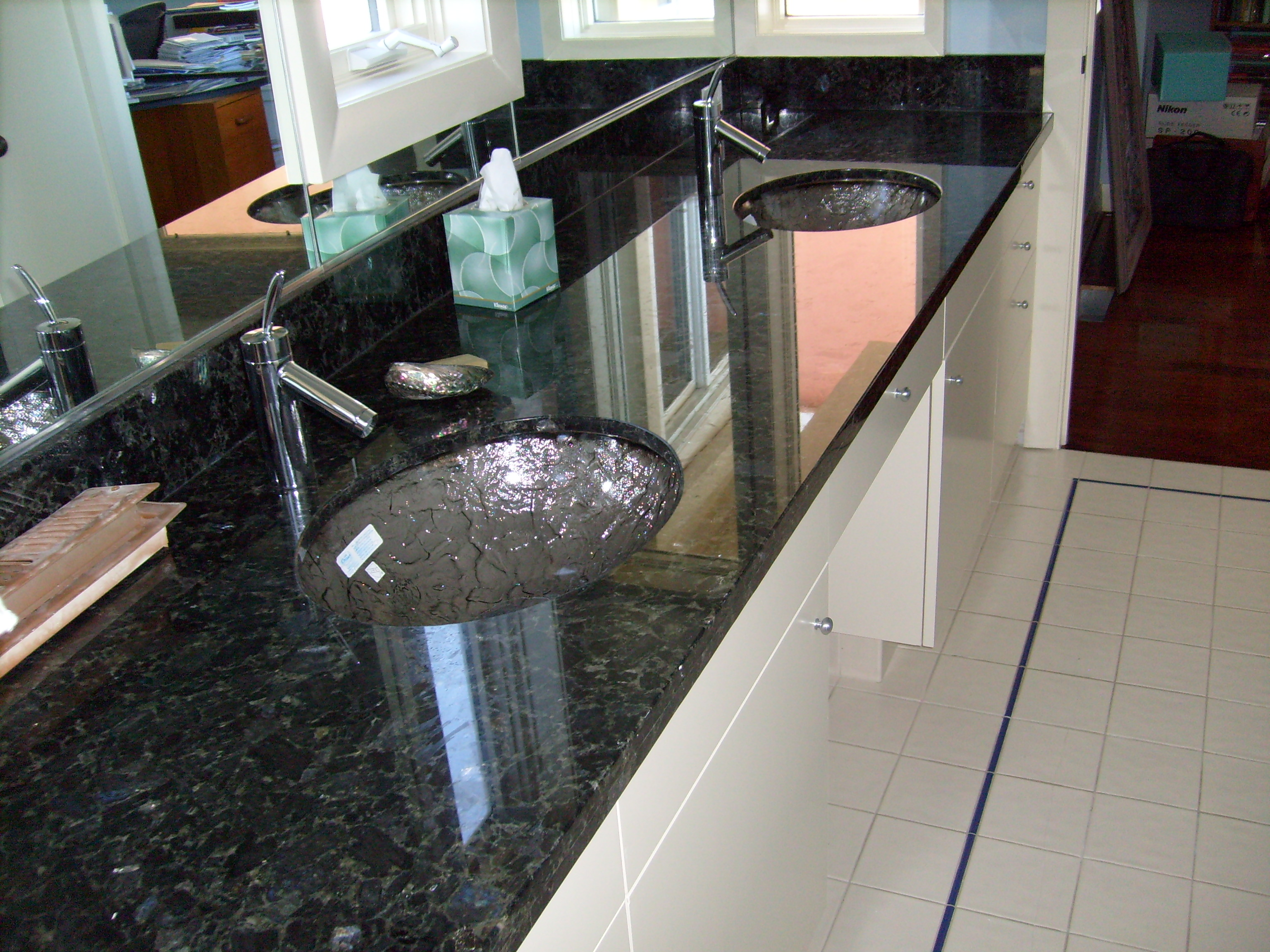 Emerald Pearl Bathroom Counters With Glass Bowls Artistic Stone